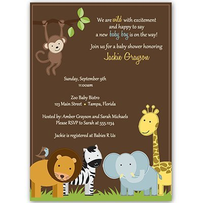 Jungle Jack, Baby Shower Invitations, Animal Print, Sprinkle, Gender Neutral, Unisex, 10 Custom Printed Invites with White Envelopes, FREE Shipping (Zebra Baby Shower Invites compare prices)