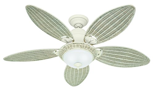 Hunter 21648 Caribbean Breeze 54-Inch Ceiling Fan with Optional Light and 5 Wicker Blades, Textured White