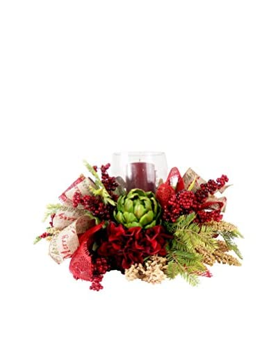 Creative Displays Holiday Hydrangea And Artichoke Candle Centerpiece, Burgundy/Green/Crème