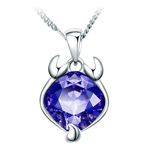 "The Starry Night Purple Crystal Twelve Constellations Scorpio Shining 18.11"" Silver Necklace"