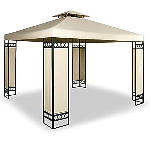 garden gazebo metal with steel frame marquee 3x3m garden. Black Bedroom Furniture Sets. Home Design Ideas