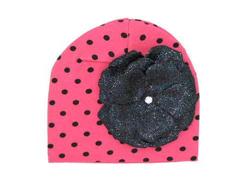 Jamie Rae Candy Pink/Black Dot Knit Hat with Black Sequins Rose