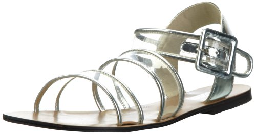 Soles Women's String Theory Manmade Clear Silver Ankle Strap 4 UK