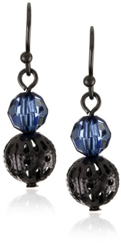 1928 Jewelry Blue Bead Ball Drop Earrings
