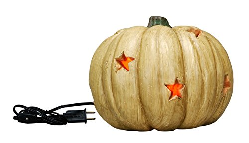 Pumpkin - Mini Carved Antique White Lighted Pumpkin with Star Cut-Outs - Halloween Fall Decor (Pumpkin Cut Outs Halloween)