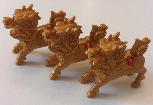 Feng Shui Three Chi Lins Kirins Statue Figurine Set