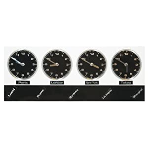 Jet Lag City Time Zone Metal Wall Clock 4 Clocks 9 City