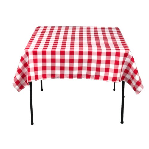 54 Inch Square Checkered Tablecloth Red and White