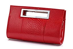 Hoxis Classic Crocodile Pattern Faux Patent Leather Cut it out Clutch with Shoulder Strap Womens Handbag (Red)