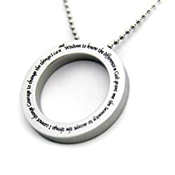 "Serenity Prayer Disc Pendant Necklace with 18"" Chain. Stainless Steel. God Grant Me the Serenity... (With Free Velvet Pouch)"