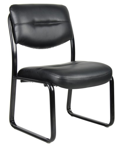boss norstar b9539 black leather plus armless guest conference