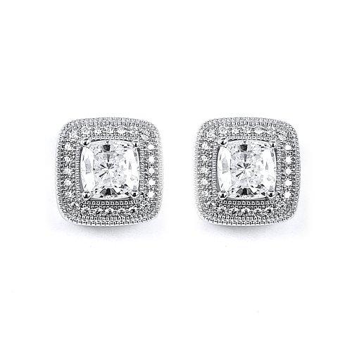 "Clevereve Designer Series Vintage-Inspired Sterling Silver Milgrain Cz Halo Square Stud Earrings 0.3"" X 0.3"""