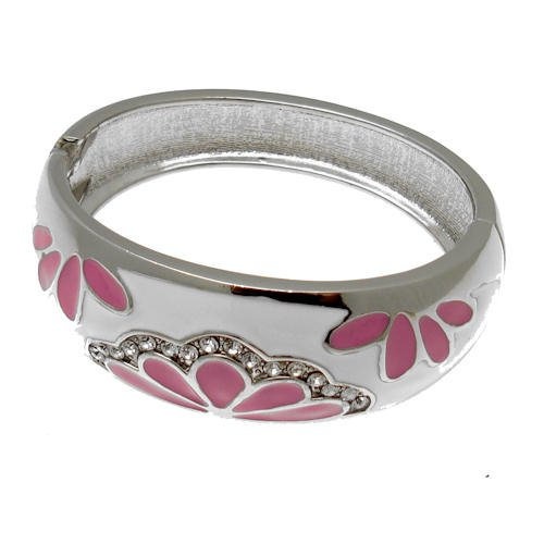 Acosta - Pink Enamel & Clear Crystal - Costume Jewellery Fashion Bracelet Bangle