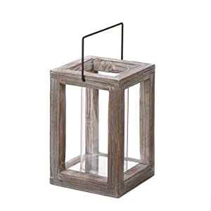 Rustic weathered look country style indoor for Wooden garden lanterns