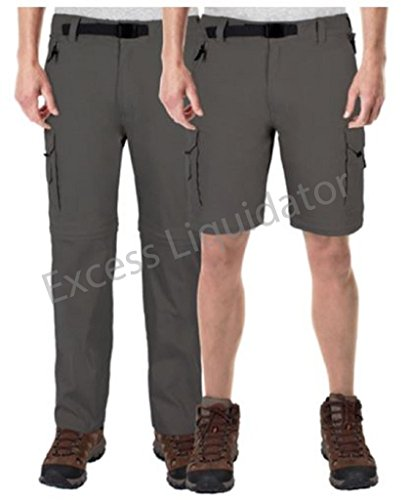 BC Clothing Mens Convertible Cargo Pant w Stretch Relaxed Fit (M x 32, Charcoal) (Bc Clothing compare prices)