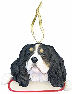 """King Charles Cavalier  Ornament Tri Color""""Santa's Pals"""" With Personalized Name Plate A Great Gift For King Charles Cavalier  Lovers"""