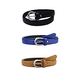Verceys Black,Blue and Tan Trendy Leather Finish Belt For Women - Free Size