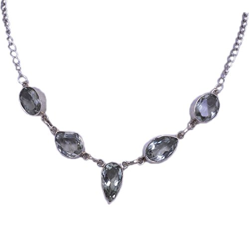 Green Amethyst Gemstone Studded Necklace Made In .925 Solid Silver