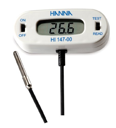 Hanna Instruments Hi147-00 Checkfridge C Remote Sensor Thermometer With Stainless Steel Thermistor Probe, -50.0 To 150.0 Degree C Range front-1013536