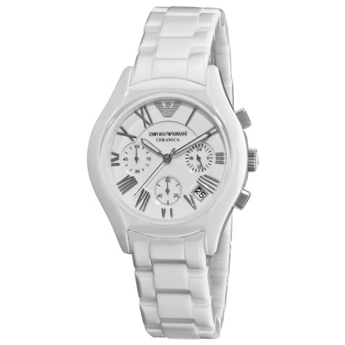 Emporio Armani AR1404 Ladies White Ceramic Round White Dial Chronograph Watch
