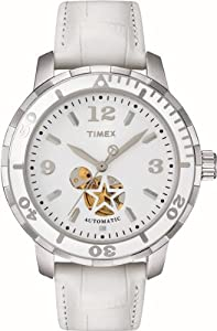 Buy Timex Ladies T2M510 Sport Luxury White Leather Strap Automatic Watch by Timex