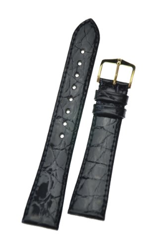 Hirsch Genuine Croco Watch Band L , Black, Buckle, 20mm