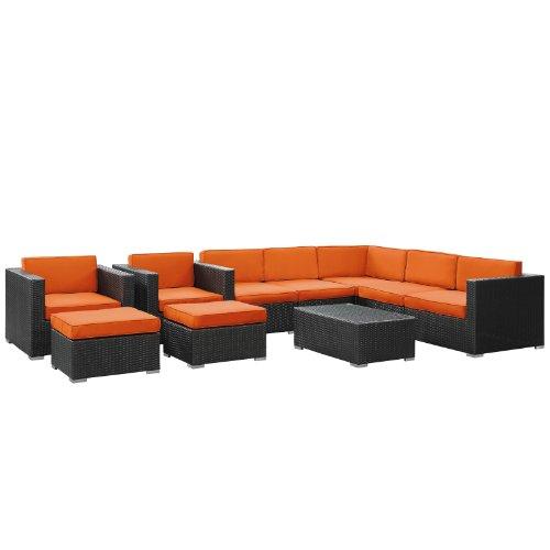 LexMod Avia Outdoor Wicker Patio 10-Piece Sectional Sofa Set in Espresso with Orange Cushions