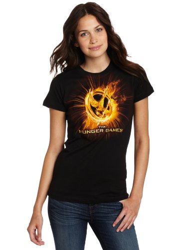 FEA Juniors Hunger Games Movie Fire Mockingjay Tissue Tee, Black, X-Large