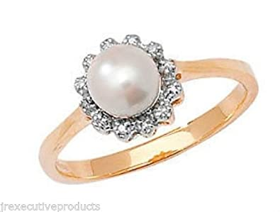 9ct Yellow Gold 6mm Freshwater Pearl & Diamond Ring (available in sizes K - Q)