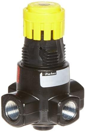 "Parker 15R113FB Regulator, Relieving Type, 2-125 psi Pressure Range, No Gauge, 21 scfm, 1/4"" NPT"