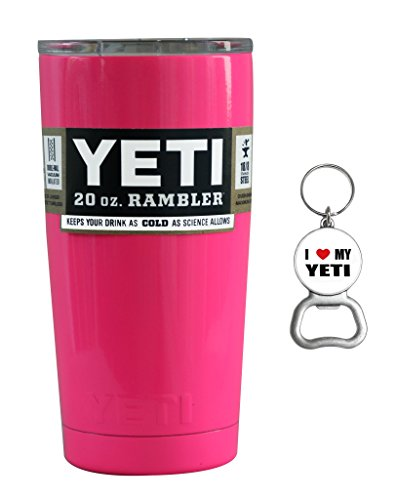 Pink Yeti Coolers 20 oz Rambler Tumbler Cup with Lid and Bottle Opener Keychain