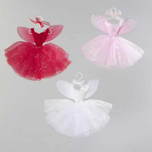 Set Of 3 Pink, Red & White Fairy Whispers Dress Christmas Ornaments