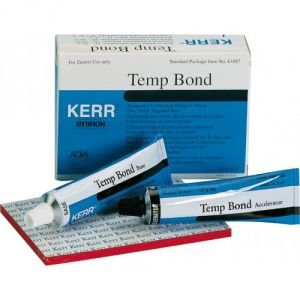 Kerr Tempbond Tubes Zinc Oxide Eugenol Temporary Cement 1 - 50 Gm. Tube Base, 1 - 15 Gm. Tube Accelerator And Mixing Pad