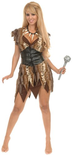 Charades Women's Cavewoman Costume Set, Brown, Small