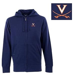 Virginia Signature Full Zip Hooded Sweatshirt (Team Color) - Small by Antigua