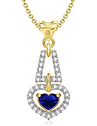 VK Jewels Valentine Love For You Blue Ruby Heart Shape Gold And Rhodium Plated Pendant - P1284G [VKP1284G]