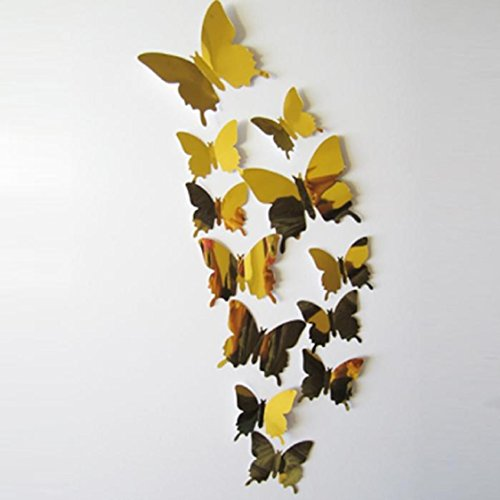 Butterflies 3D Wall Sticker,Ikevan 1set 12pcs Wall Stickers Decal Butterflies 3D Mirror Wall Art TV Setting Wall Sticker Fridges Doors Romance Home Decoration (Gold) (Amplifier Fridge compare prices)