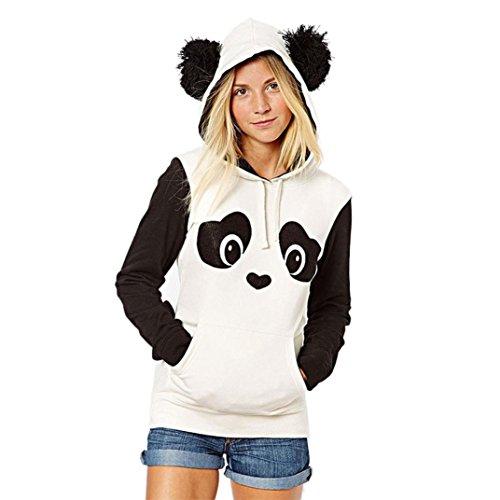 Culater® Womens Panda Pocket Felpa con cappuccio Pullover Camicia (L)
