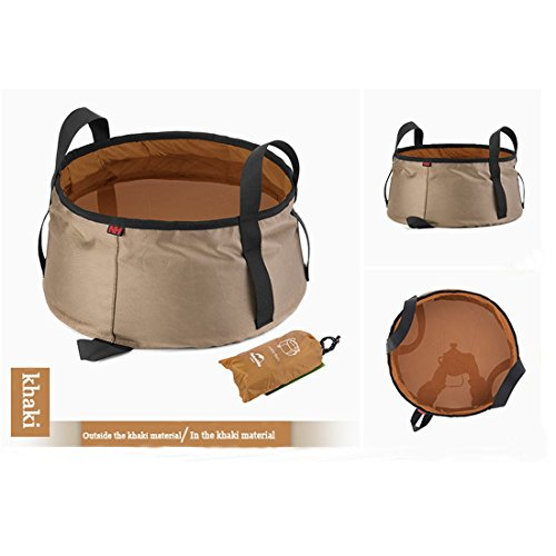 Kredy Ultra Lightweight Portable Outdoor Folding Wash Footbath Basin Water Bag Wash Bucket for Camping Traveling Hiking (Khaki) (Bath Tub Water Bag compare prices)