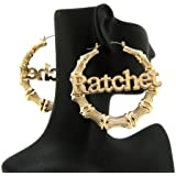 "Ratchet Charm 3"" Bamboo Hoop Earrings in Gold-Tone"