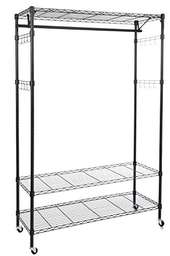 Homdox 3-Tiers Big Size Heavy Duty Wire Shelving Unit Garment Rack with Hanger Bar Wheels+2 Pair Side Hooks,Black (Wire Shelving And Garment Rack compare prices)