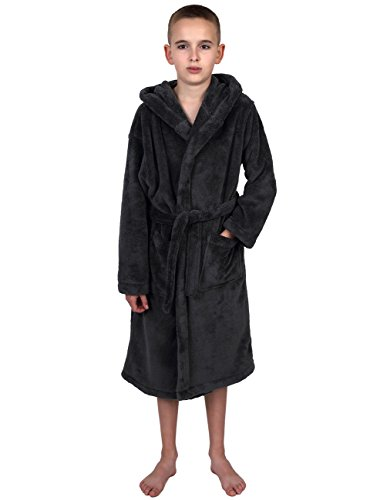 TowelSelections Little Boys' Hooded Plush Robe Soft Fleece Bathrobe Size 6 Charcoal