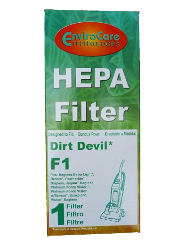 (1) Dirt Devil F1 Bagless Upright Vision Pleated Hepa Filter, Breeze, Featherlite, Jaguar, Kinetix Self Propelled, Scorpion, Ultra Swivel, Power Streak, P.F. Self Propelled / Commercial Plastic Upright Vacuum Cleaners, 3Jc0280000, 2881210000, 2Jc0360000 front-564183