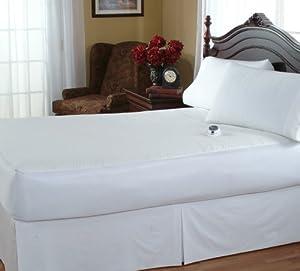 Serta Damask Stripe 233-Thread Count Electric Heated Mattress Pad, White