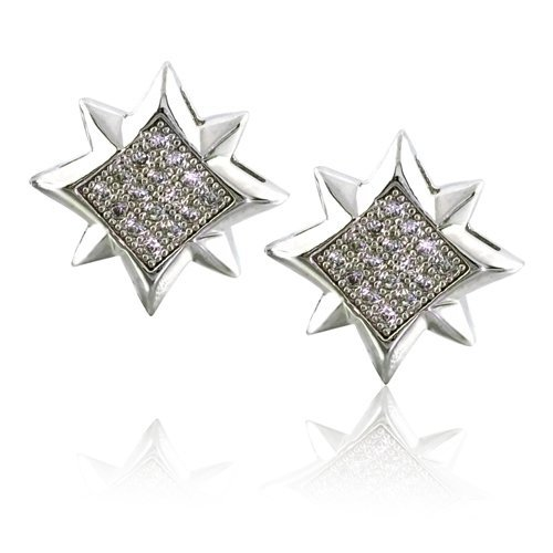 Christmas Gifts Bling Jewelry Mens Micro Pave 8 Point Star Silver Stud Earrings