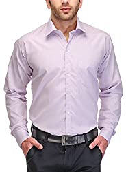 Formals by Koolpals-Cotton Blend Shirt Purple Vertical Stripes on White