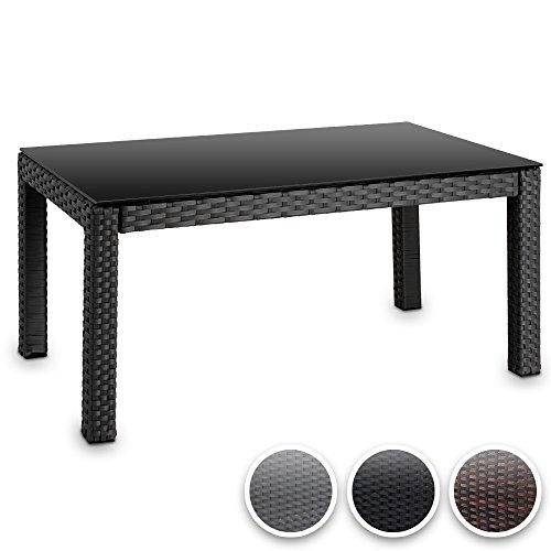 Hochwertiger-Polyrattan-Tisch-Teetisch-Beistelltisch-fr-den-Garten-mit-Glas-Farbwahl