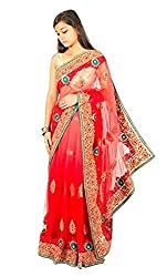 aamori coral red sheer net, with surati stone work & embroidery saree