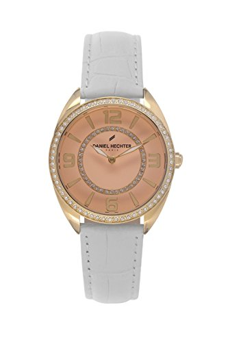 Daniel Hechter-DHD 1WB 014S-Women's Quartz Analogue Watch-Pink Face-White Leather Strap