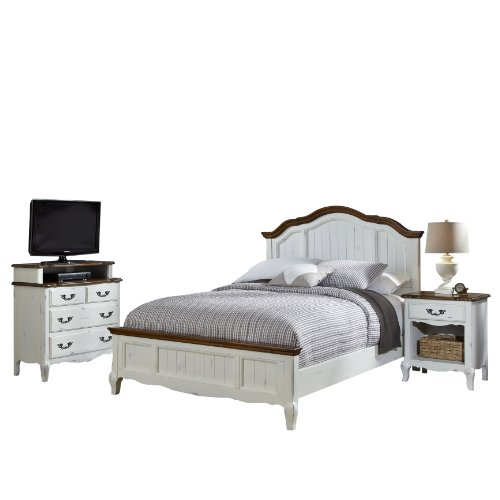 Home Styles 5518-6020 The French Countryside King Bed, Night Stand And Media Chest Set